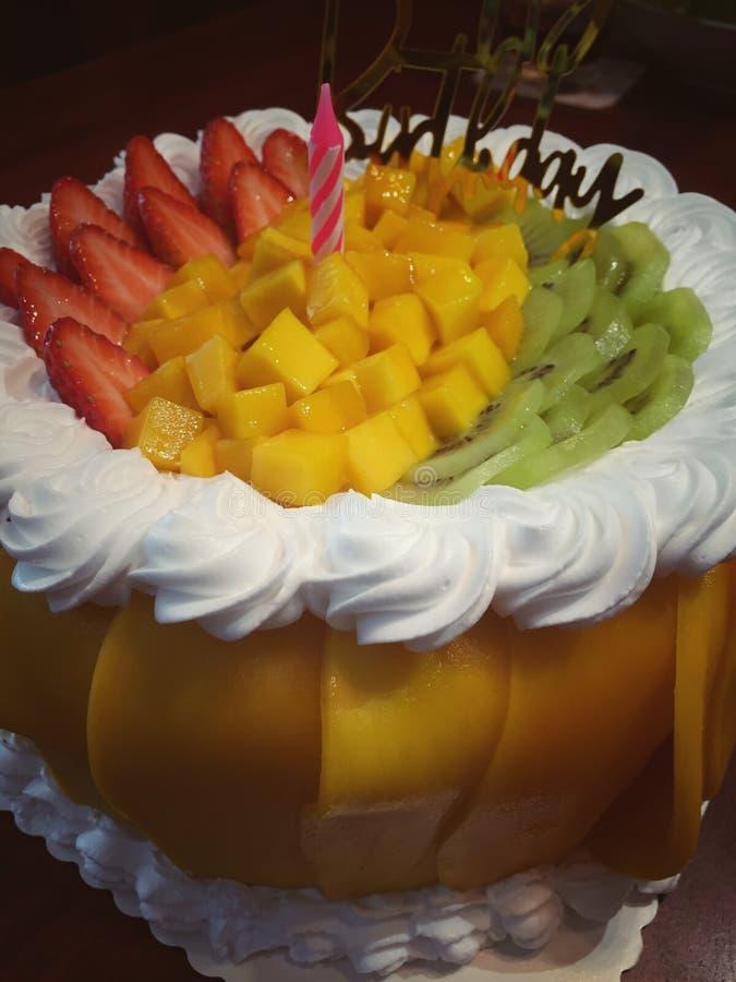 Fresh Cream Mix Fruit Cake royalty free stock images