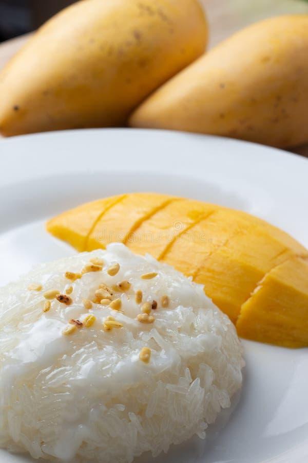 Mango Kleverige Rijst met witte plaat royalty-vrije stock afbeelding