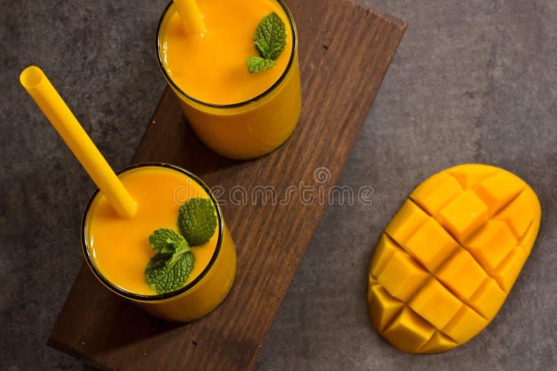 Mango lassi Indian summer drink stock image