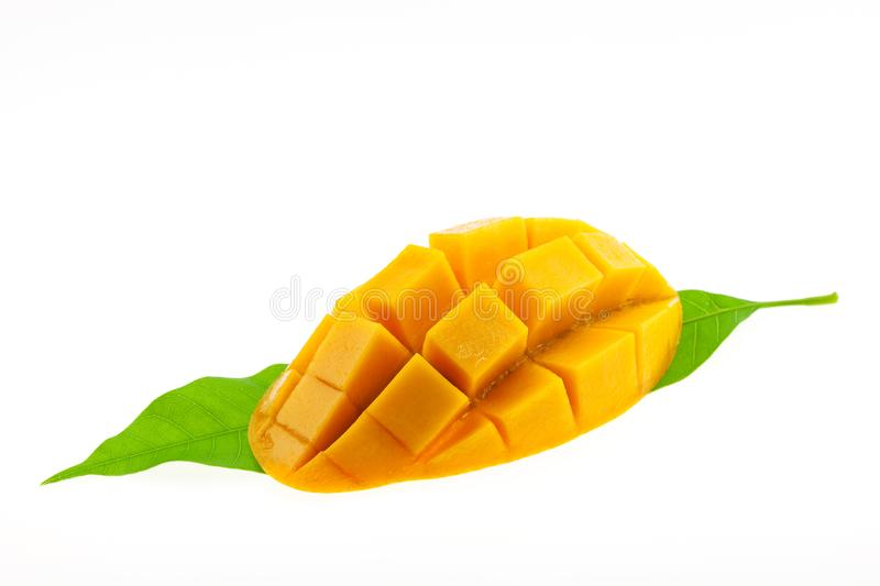 Mango with leaves isolated on white background. stock images