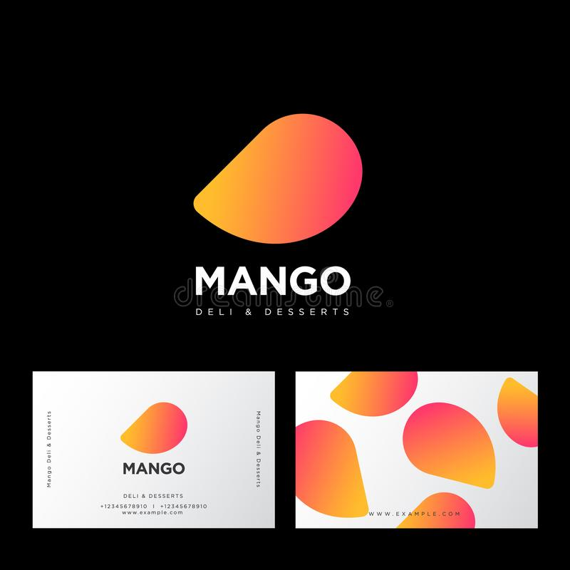 Mango logo. Deli and desserts sweet cafe. Mango and letters. Sweets emblem. Identity. Business card vector illustration