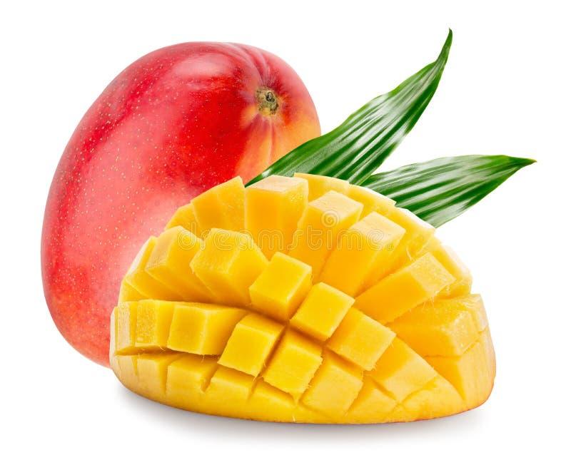 Mango med kubskivor som isoleras på en vit bakgrund royaltyfria foton