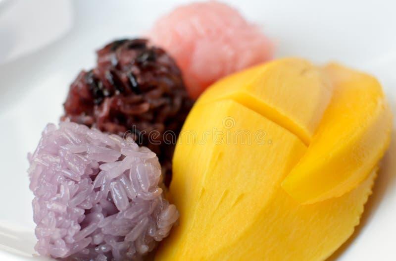 Mango met Kleverige Rijst stock foto's