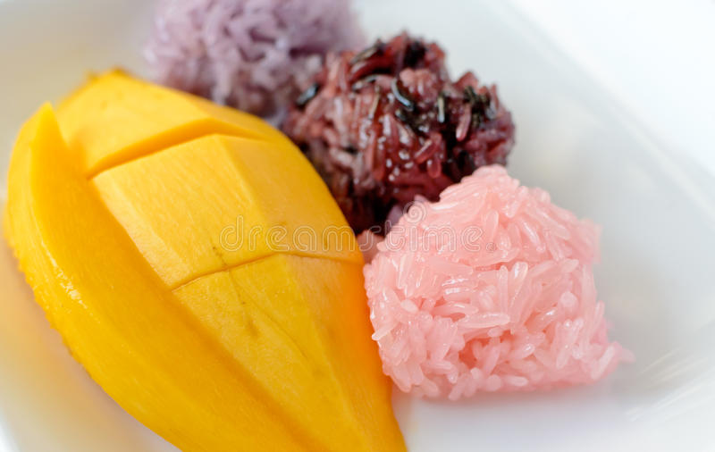 Mango met Kleverige Rijst royalty-vrije stock foto's