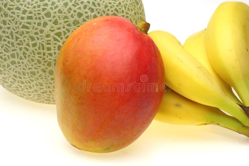 Download Mango Mit Banane Und Melone Stockbild - Bild von mangopflaume, dargestellt: 47100159