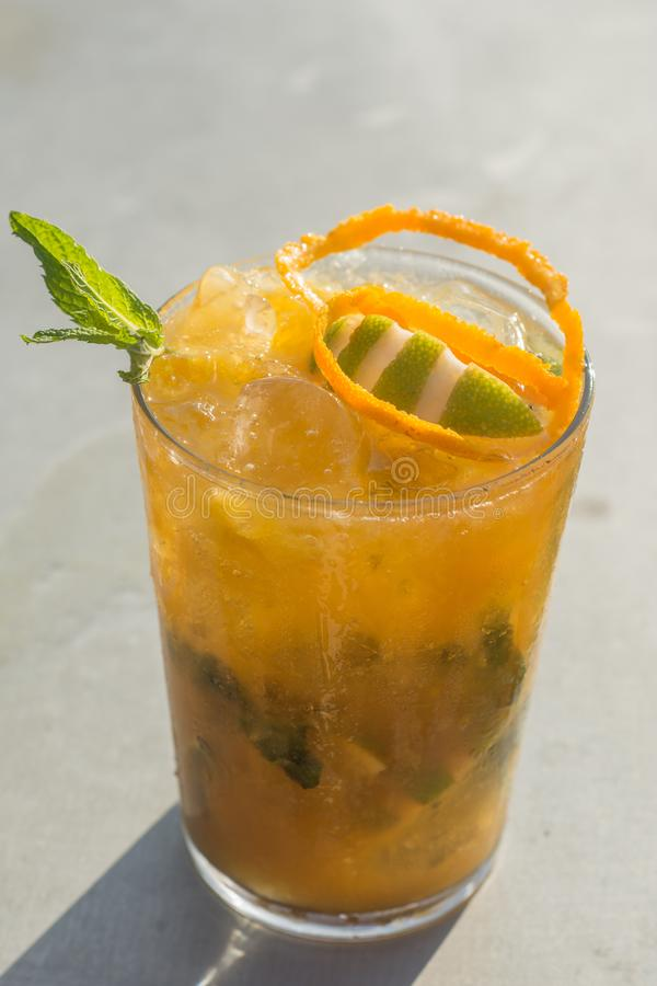 Mango mojito in a sunny day stock photography