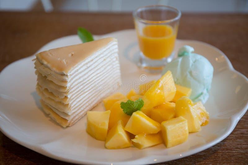 Mango crepe cake, dessert stock photos