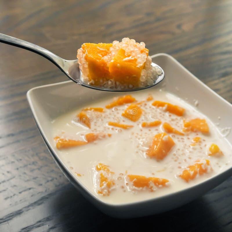 Mango- och tapiokapudding i kokosnöt mjölkar arkivfoton