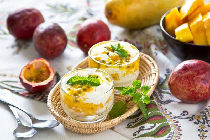 Mango and Passion fruit dessert stock image