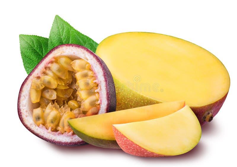 Mango and passion fruit isolated on white background royalty free stock photos