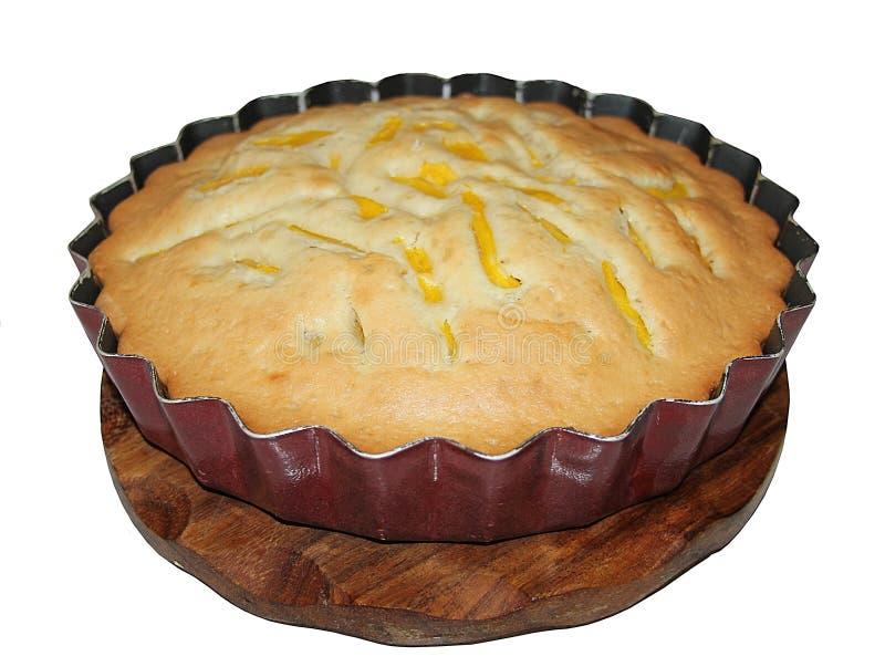 Mango pie on white background stock images