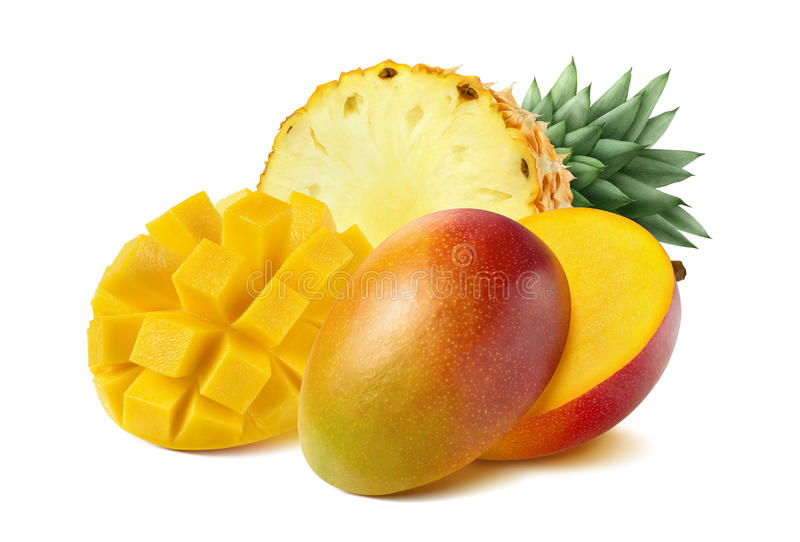 Mango pineapple cut half on white background. As package design element royalty free stock images