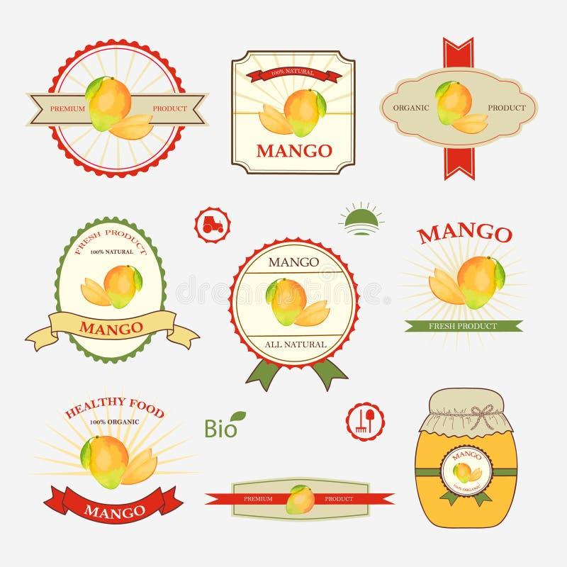 Mango, sistema del diseño de la etiqueta stock de ilustración