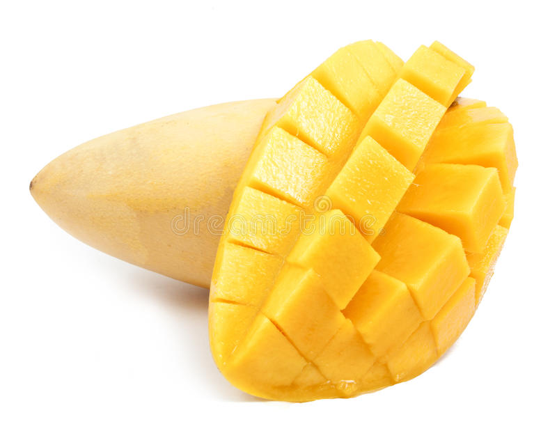 mango slice cut to cubes close up isolated stock photos