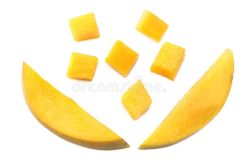 mango slice isolated on white background. healthy food. top view stock photography