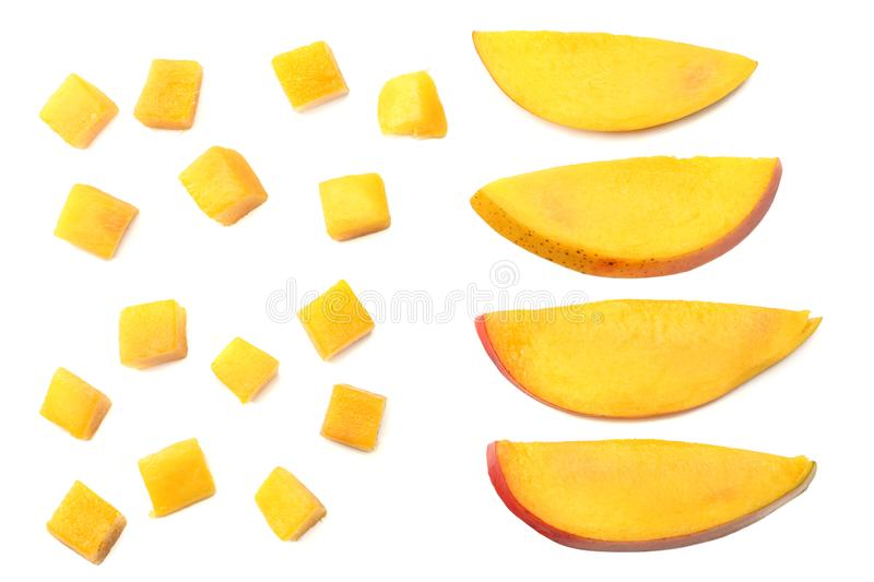 Mango slice isolated on white background. healthy food. top view royalty free stock image