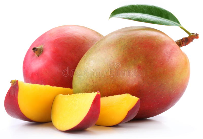 Mango with slices stock images