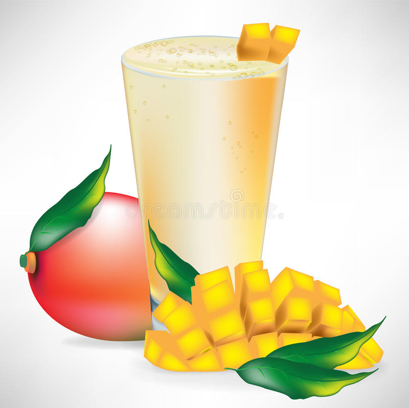 Mango smoothie with fruit and slices vector illustration