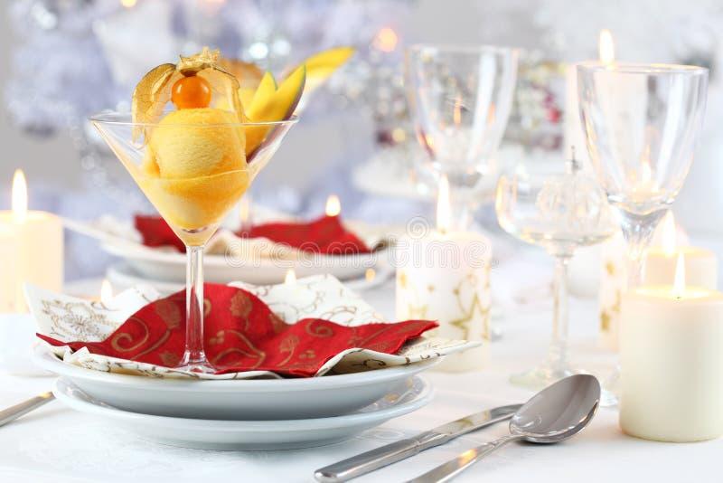 Mango sorbet for Christmas royalty free stock photography