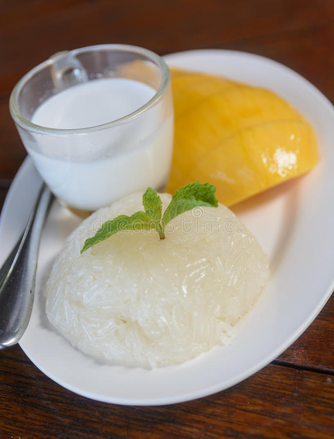 Mango Sticky Rice, Famous Dessert Of Thailand. Stock Photo ...