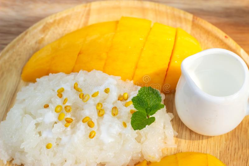 Mango with sticky rice. Favorite thai dessert in summer season. Sweet and freshness tast royalty free stock images