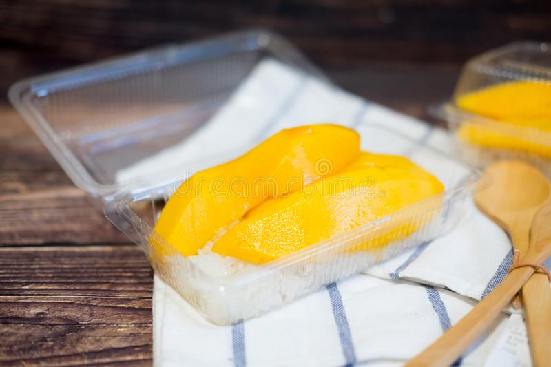 Mango and sticky rice is popular traditional dessert of Thailand royalty free stock photography