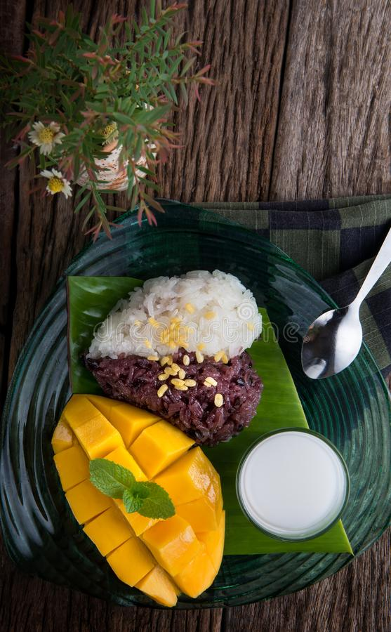 Mango with sticky rice in Thai style dessert. stock photos