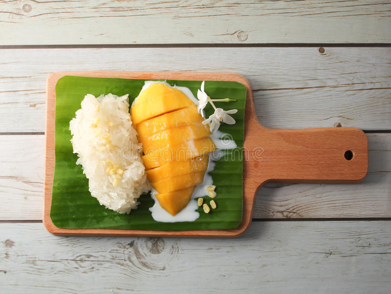 Mango Sticky Rice with Wood Tray,Thai dessert stock images