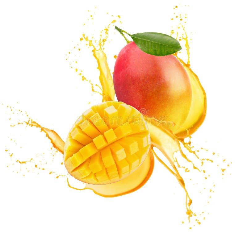 Mango w soku pluśnięciu odizolowywającym na białym tle obrazy stock