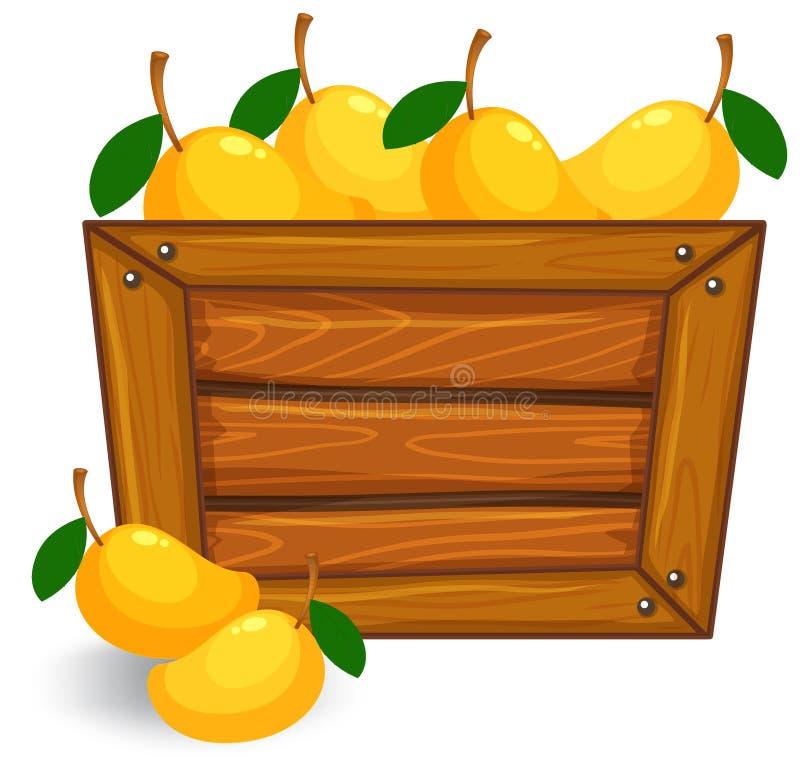 Mango on wooden banner. Illustration royalty free illustration