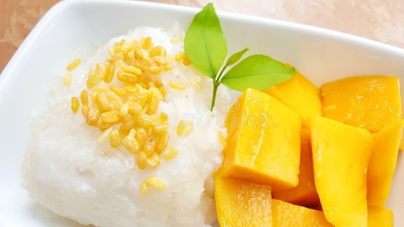Mango y arroz pegajoso con leche de coco fotografía de archivo libre de regalías