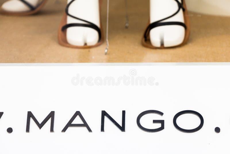 Mangoembleem op Mangoopslag royalty-vrije stock fotografie