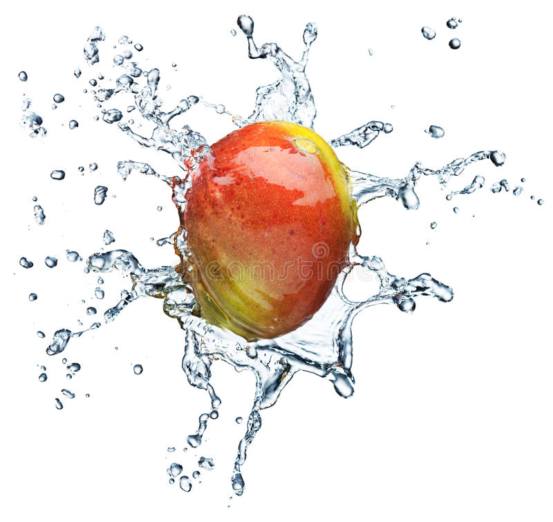 Mangofrucht, die im Wasser spritzt stockbilder