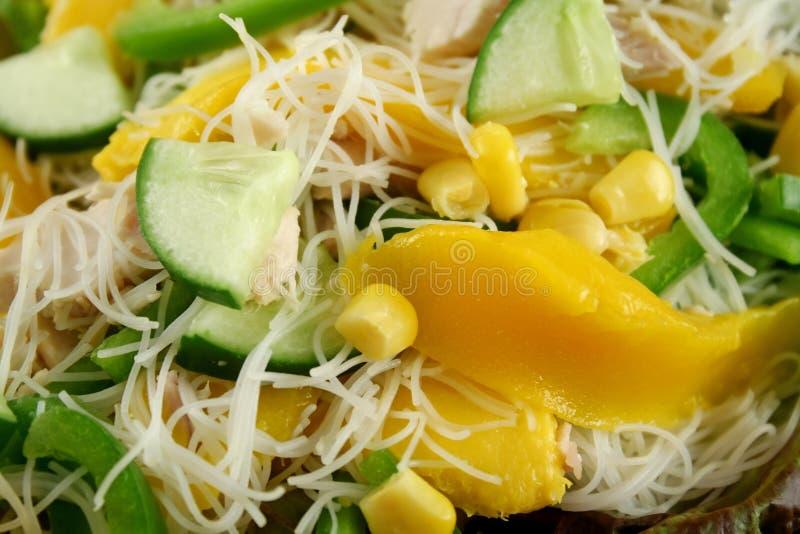 Mangofrucht und Geflügelsalat stockfotos