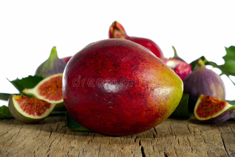 Mangofrukt och fikonträd arkivbilder