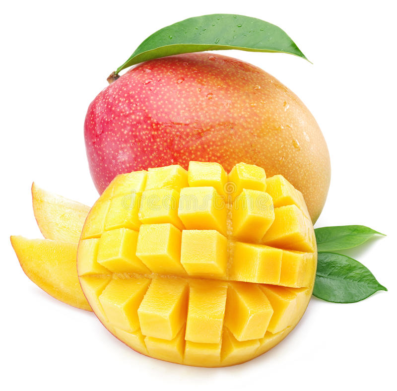 Mangokuber och mangofrukt royaltyfri fotografi
