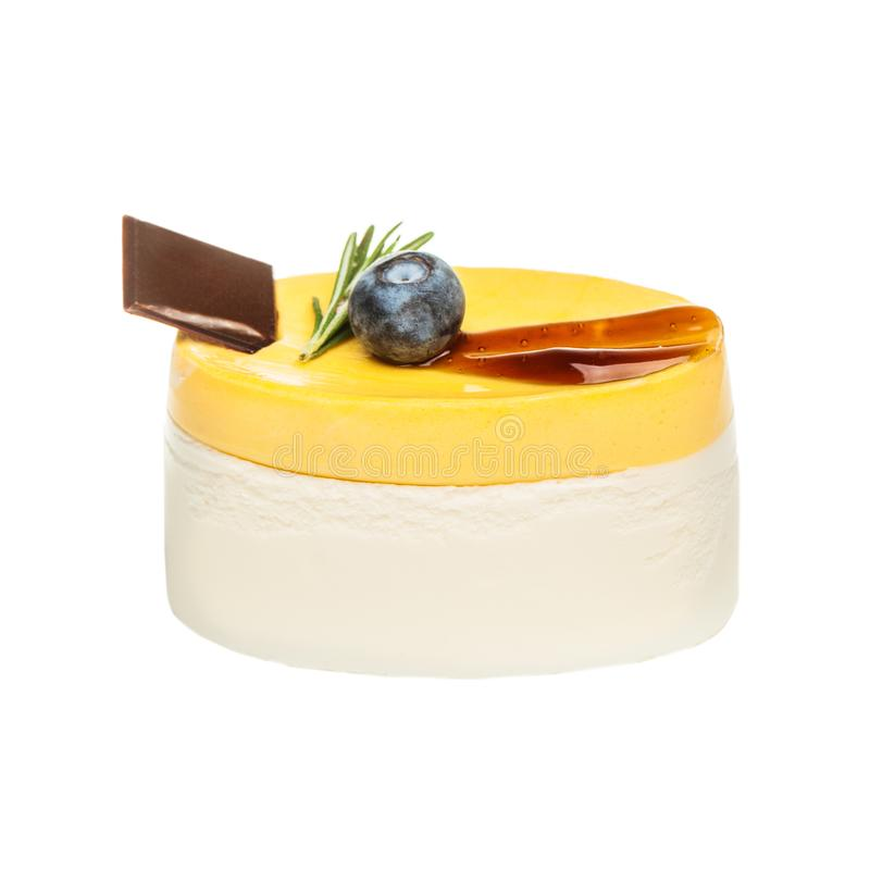 Mangomoussekaka med choklad och blåbäret royaltyfri fotografi