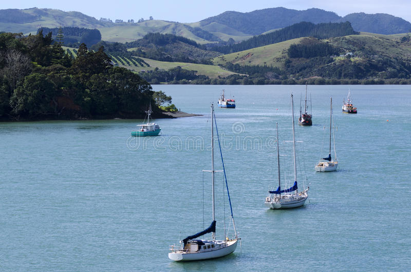 Mangonui harbor in Northland New Zealand. Aerial landscape view of Mangonui harbor with yachts and fishing boats in Northland New Zealand stock photos
