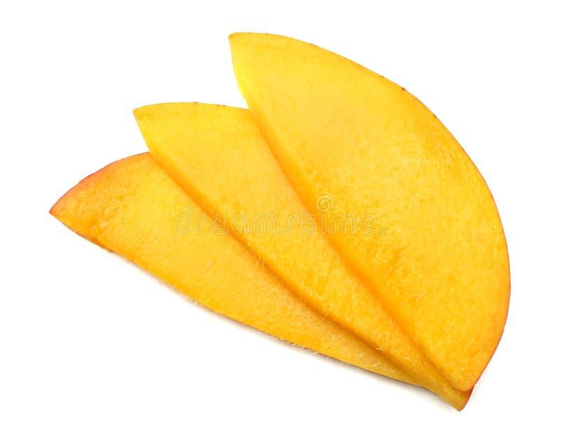 Mangoplak op witte achtergrond wordt geïsoleerd die Gezond voedsel Hoogste mening royalty-vrije stock afbeeldingen