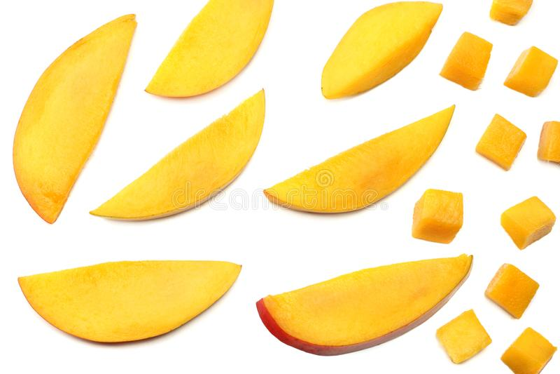 Mangoplak op witte achtergrond wordt geïsoleerd die Gezond voedsel Hoogste mening stock afbeeldingen