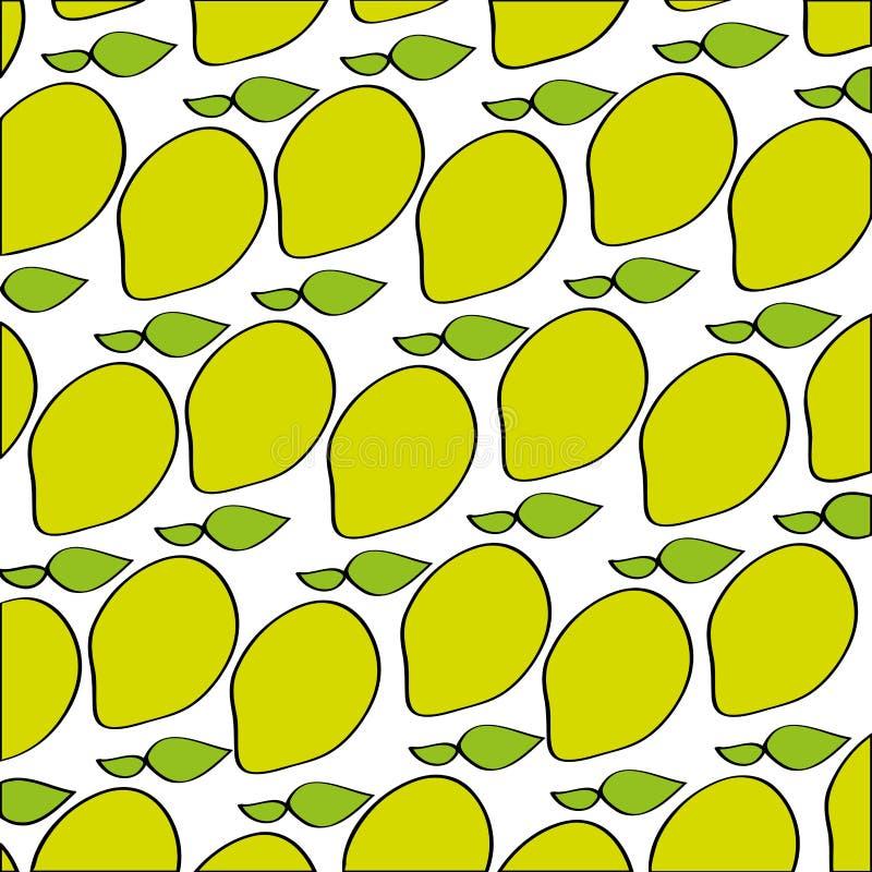 Mangos pattern fresh fruit drawing icon royalty free illustration