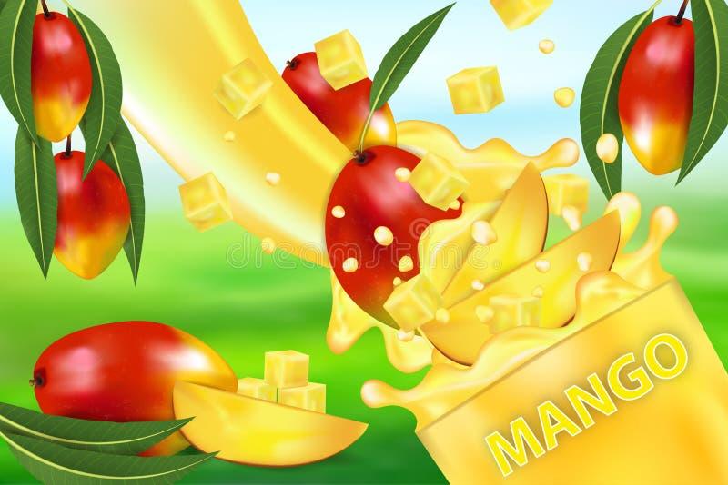 Mangosap en plons Stroom van vloeistof met dalingen en zoete tropische fruit 3d realistische vectorillustratie, pakketontwerp of vector illustratie