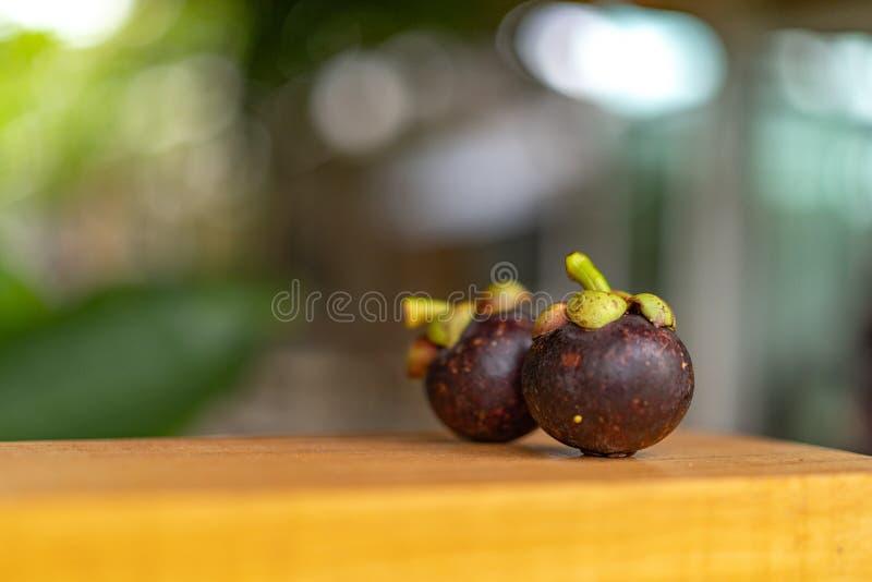Mangost?n en la placa de madera, con el fondo de la naturaleza del verde del bokeh de la falta de definici?n foto de archivo libre de regalías