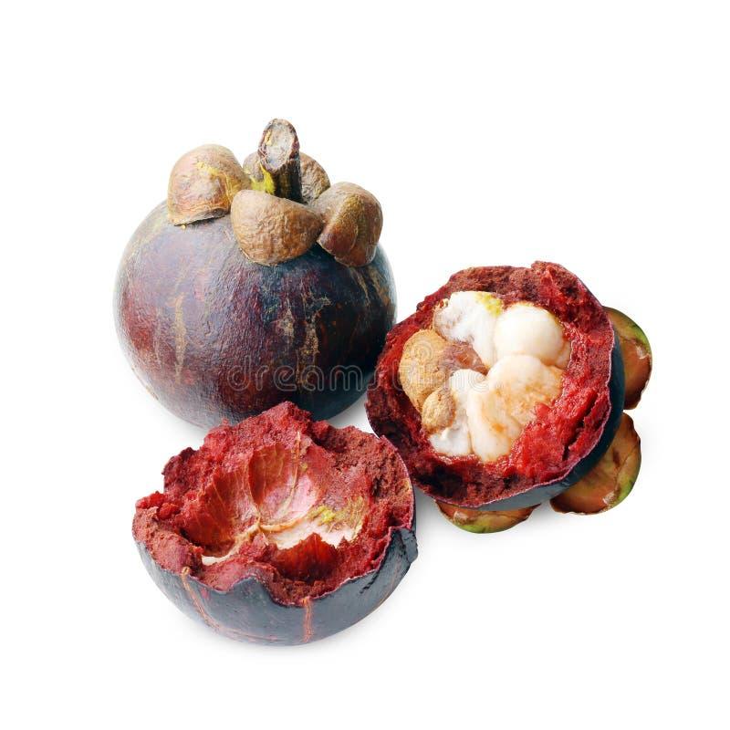Mangostanu owocowy przegniły zakończenie up, mangostan spróchniałość i cięcie, strugamy połówkę na białym tle, dojrzały mangostan zdjęcie stock