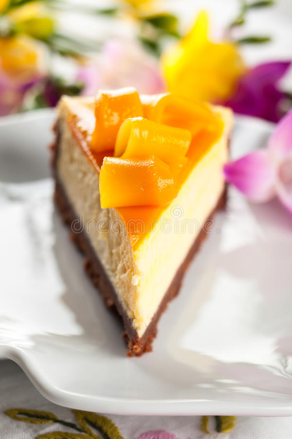 Mangowy Cheesecake fotografia royalty free