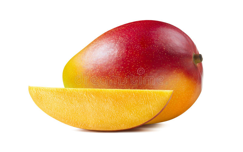 Mangowy horyzontalny kawałka plasterek odizolowywający na białym tle zdjęcia royalty free
