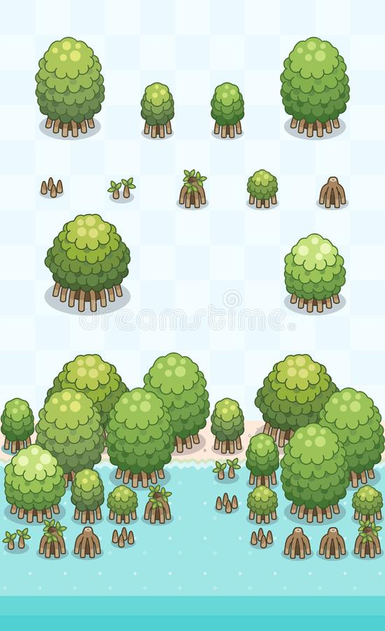 Mangrove Forest Plants Set stock images