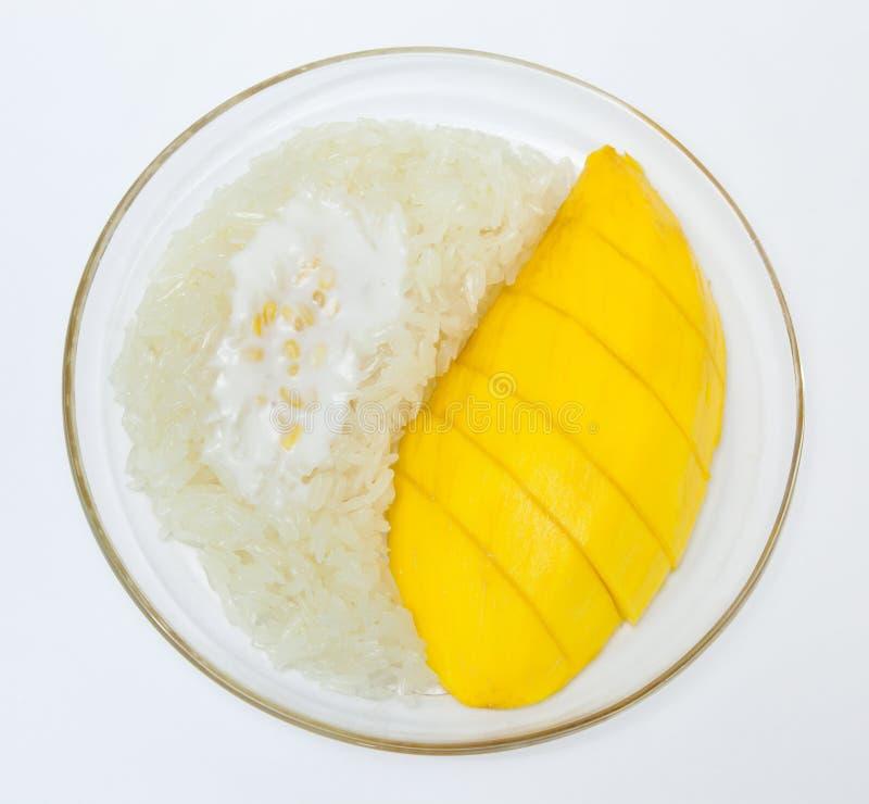 Mangue avec du riz collant, dessert thaï de type photo stock