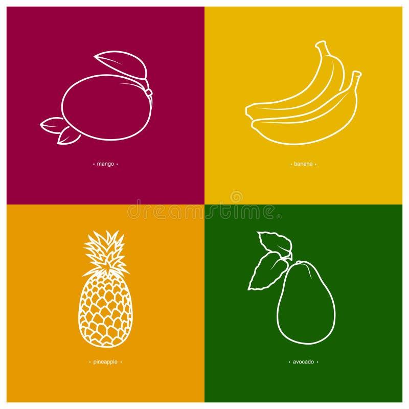 Download Mangue, Banane, Ananas, Avocat Illustration de Vecteur - Illustration du fruité, avocat: 56480959