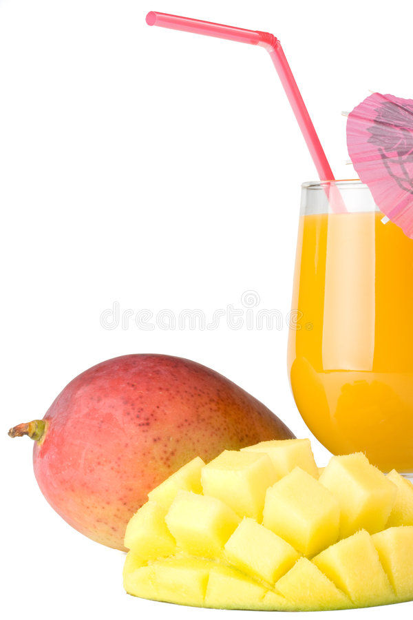 Mangue et glace fraîches de jus de mangue photo stock